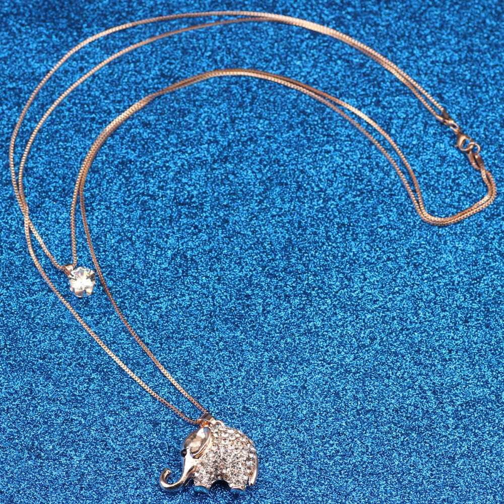 WEVENI הצהרת ריינסטון פיל שרשרת תליון ארוך שרשרת תכשיטי אביזרי אופנה לנשים חדשות ג 'ונגל בעלי החיים צווארון
