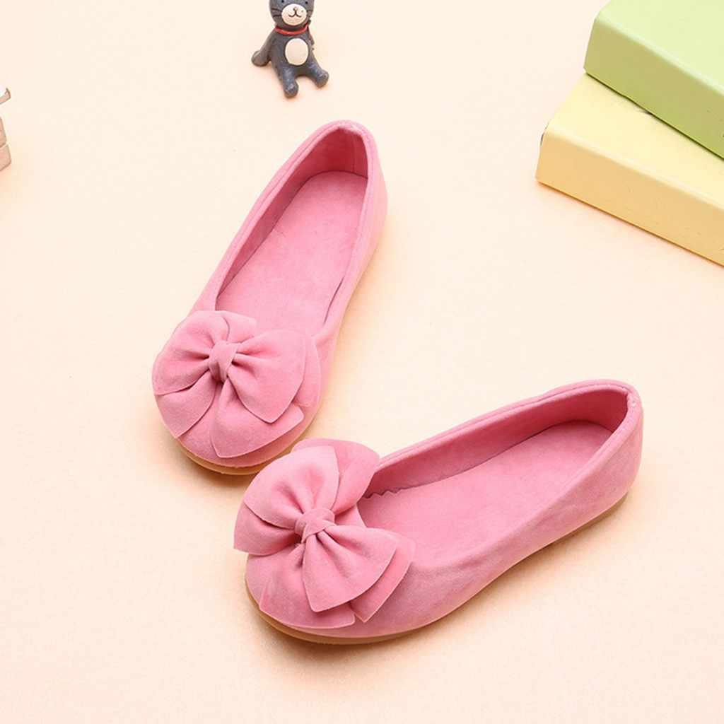 ילדי ילדי תינוק בנות נעלי מוצק Bowknot תלמיד יחיד רך נעלי ריקוד מסיבת חתונה נסיכת נעליים