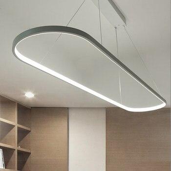 Moderne Ellipse LED Anhänger Licht Esszimmer Studie Büro Einfache Suspension Hängen Lampe Nordic Bar Zähler Droplight