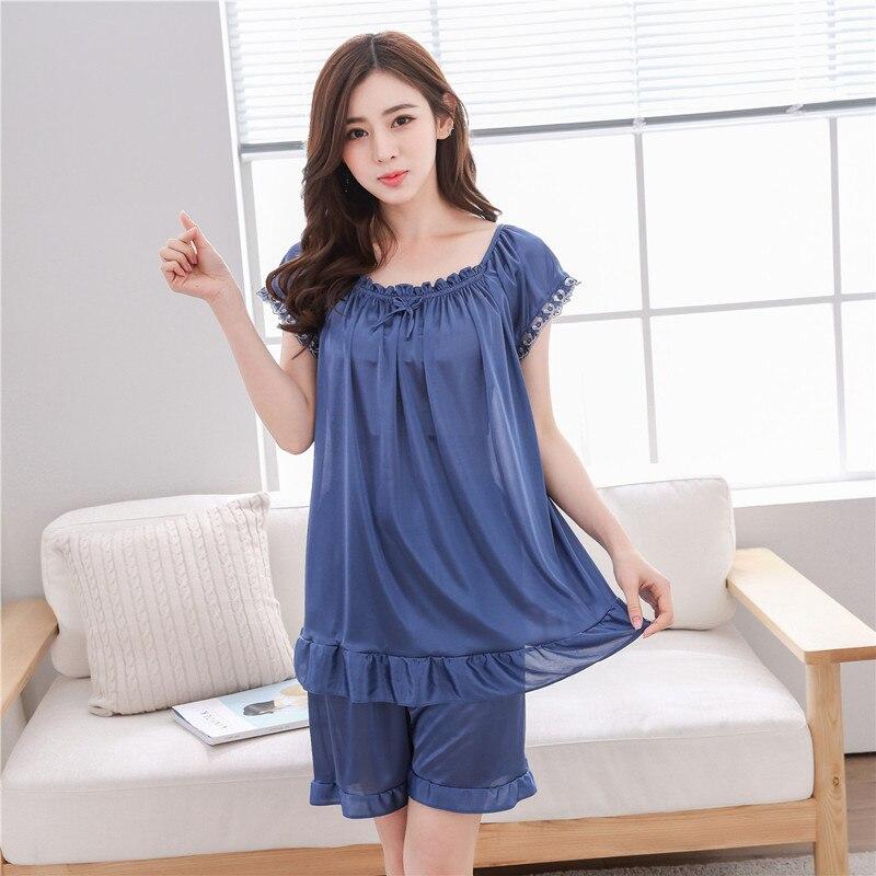 Plus Size L-4XL silk   pajamas     set   women summer short sleeve lace pyjamas pure color sexy female sleepwear pijamas mujer