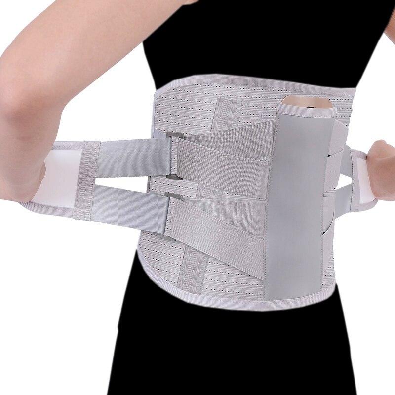 Spor ve Eğlence'ten Bel Desteği'de Ortopedik erkekler kadınlar bel desteği geri sarıcı kemer turmalin kendinden ısıtma manyetik genişletmek bel kemeri çelik kemik 3 adet ped