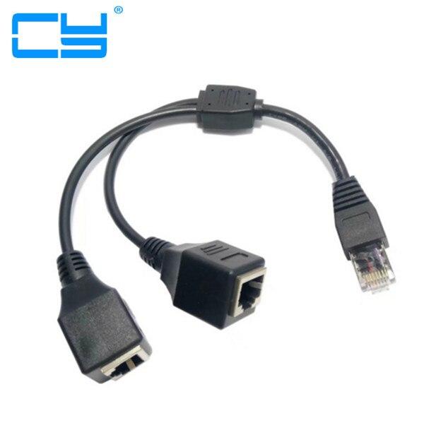 10 pièces/1 mâle à 2 Ports femelles prise réseau Ethernet câble séparateur adaptateur d'extension connecteur mâle à femelle pour routeurs moyeux