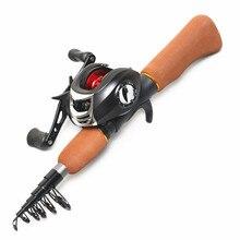 цены mini fishing rod ultra short pole sea otter set baitcast reel ice fishing rod fishing gear vara de pesca olta casting rod angeln