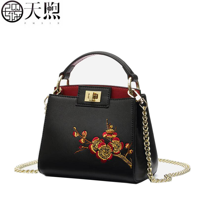 New fashion luxury handbags women bags designer Plum embroidery women Leather bag tote handbags shoulder Bags arms races in international politics