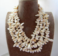 0001765 4Strands White Wing Baroque Freshwater Pearl Necklace