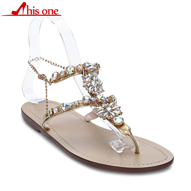 2018 Woman Sandals Women Shoes Rhinestones Chains Thong Gladiator Flat Sandals Crystal Chaussure Plus Size 46 tenis feminino 2018 new woman sandals women shoes rhinestones chains diamond beaded pinch flat bohemia sandals female large size sandalias k560