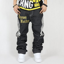 Size 30-42 Men Hip Hop Jeans Skateboard Men Baggy Jeans Street Style Denim Hiphop Pants Loose Jeans Rap 4 Seasons Trousers