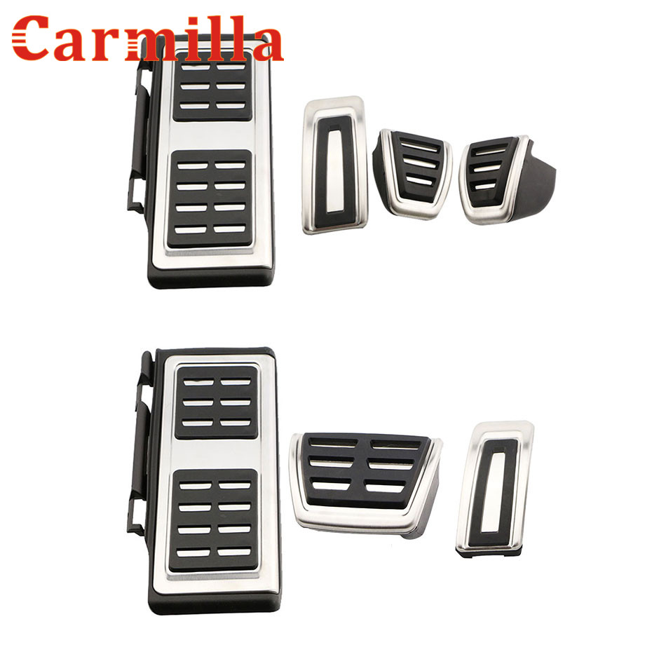 Carmilla Car Styling Foot Fuel Brake Pedal Clutch Pedals Cover For Volkswagen VW Tiguan L 2017 2018 LHD Auto Parts Accessories