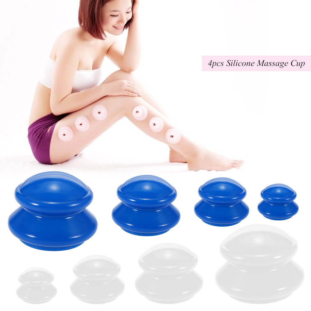 4Pcs Moisture Absorber Anti Cellulite Vacuum Cupping Cup Silicone Family Facial Body Massage Therapy Cupping Cup Set 4 Size(China)