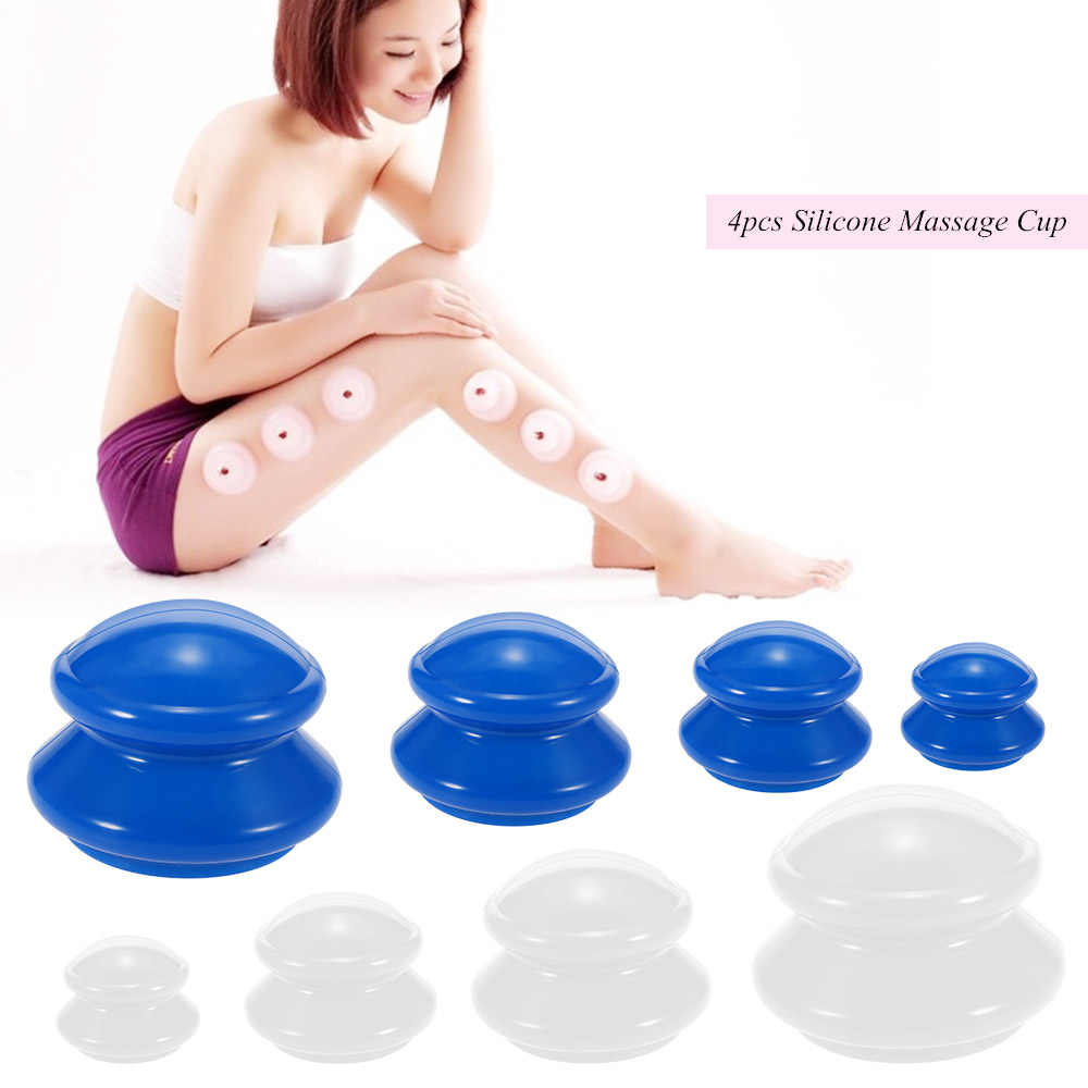 4Pcs Moisture Absorber Anti Cellulite Vacuum Cupping Cup Silicone Family Facial Body Massage Therapy Cupping Cup Set 4 Size
