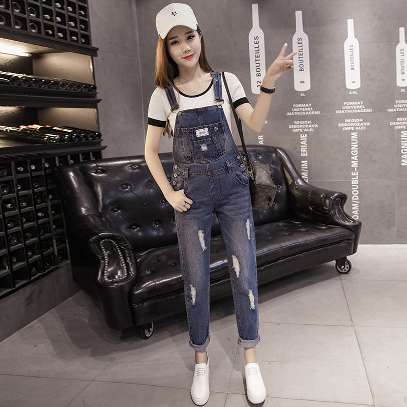 New arrival summer spring women spaghetti strap denim cotton plants hole preppy style pocket slim all