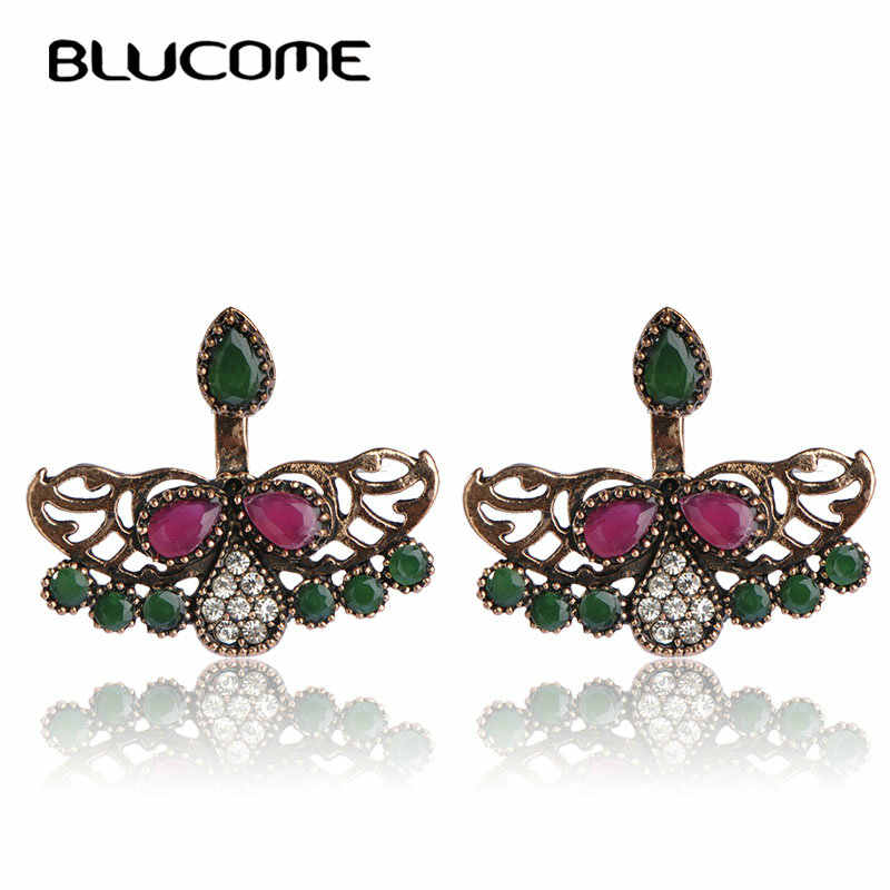 Blucome apuramento especiais do vintage turco brincos de parafuso prisioneiro oco para fora asa resina jóias cristal feminino festa diária orelha acessórios