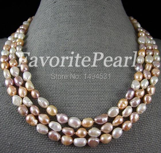 Wholesale Long Pearl Jewelry - 64 Inch 8-8.5mm AA Multi-Color Natural Baroque Freshwater Pearl Long Necklace - Free Shipping