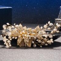 Tuanmingクリスタル花嫁の髪櫛手作りパールラインストーンゴールドウェディング髪スティック金属ブライ