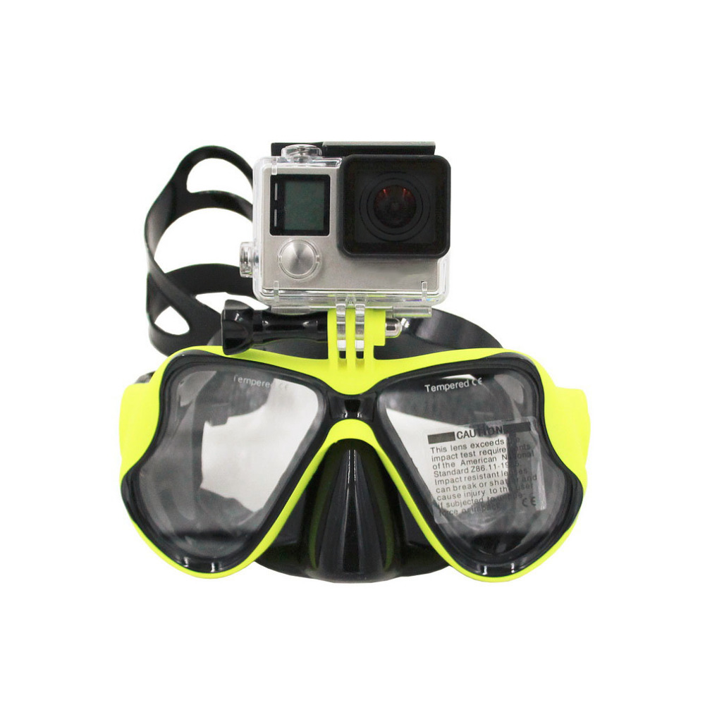 HWYHX Yellow Diving Mask Scuba Snorkel Swimming Goggles Sports Glasses For GoPro New Brand hwunderwater camera plain diving mask scuba snorkel swimming goggles for gopro new brand