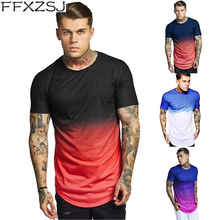 Mens Hipster Gradient Color T Shirt 2019 Summer New  Slim Fit Short Sleeve Tshirt Men Hip Hop Streetwear Camisetas Hombre 3XL gradient color short sleeve mens sports suit