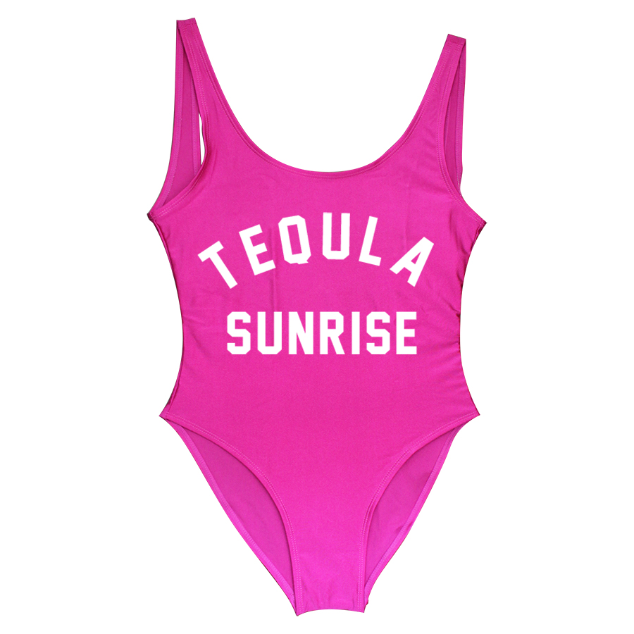 c9dae37df7 TEQUILA SUNRISE Funny Letters Women Swim suit Sexy 2018 Girls' High ...