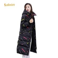 2018 Winter Women Hooded Coat Thicken Warm Long Jacket Female Color Stripe Outerwear Parka Ladies Feminino XZ473