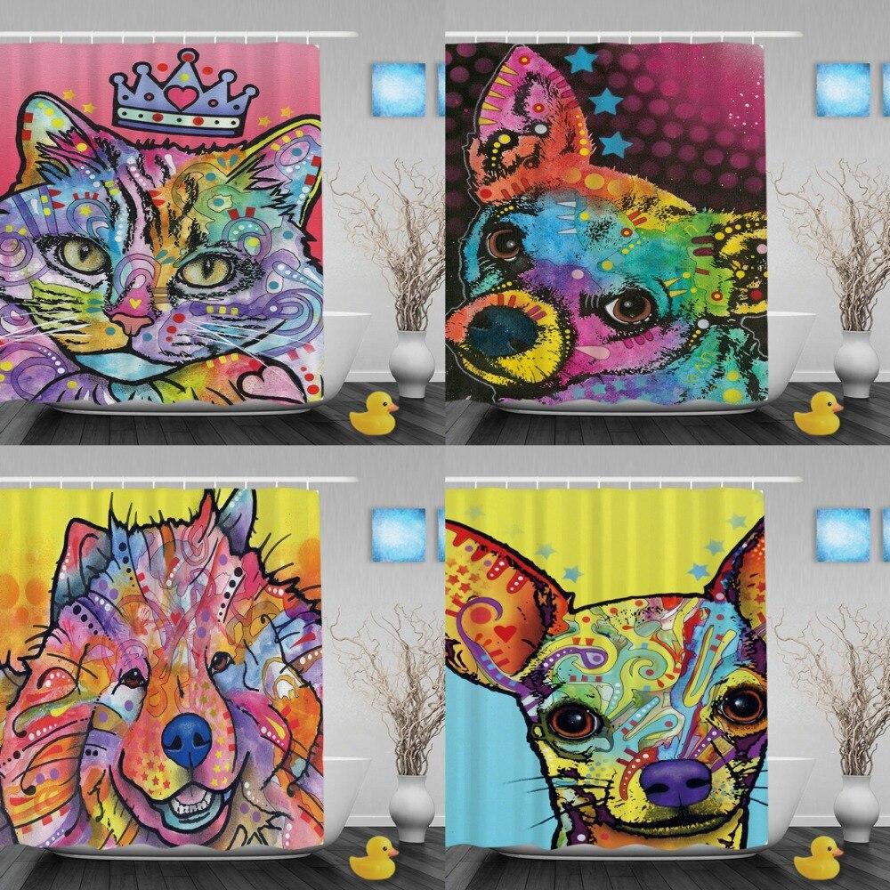 Egyéni kisállat-macska zuhanyfüggönyök Színes művészeti - Háztartási árucikkek