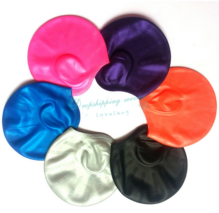 Multicolor Silicone Swimming Cap Protect Ears Long Hair Bathing Caps Adult Male Female Sports Swim Pool Hats - ET2-9 store