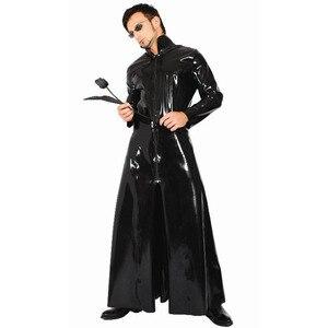 Image 2 - Fantasia sexy de couro feminino, vestido gótico com aparência molhada de pvc falso látex recarregado sexy halloween unissex