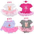 Nueva ropa del bebé establece pascua Lace Tutu vestido del mameluco Jumpersuit + Headband 2 unids Bebe primer cumpleaños trajes