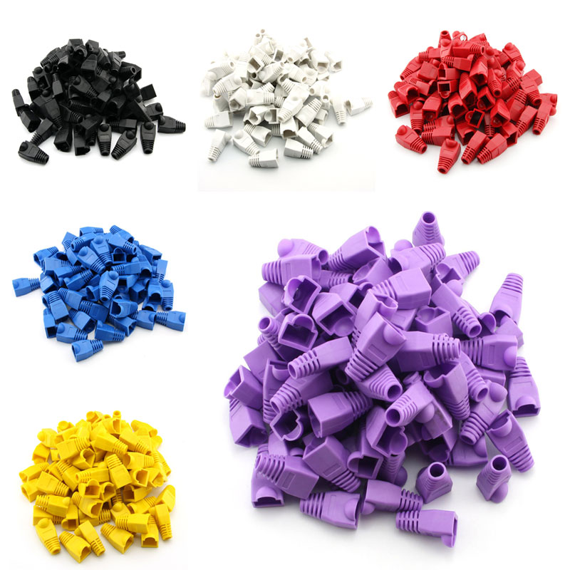 100pcs RJ45 Cat6 Cat5E Plugs Ethernet Network Cable Strain Relief Boots RJ45 Plugs Socket Boot Caps RJ-45 Connector 6 Colors