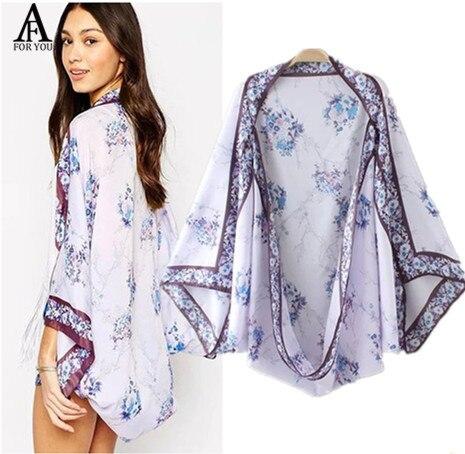 2017 Summer Women Casual Kimono Cardigan chiffon blouse blue ...