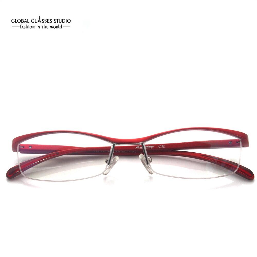 Extremamente Leve Agilizar Roxo Vermelho Laranja Óculos Da Moda Por Atacado  Mulheres Metade Óptica Moldura feita de Alumínio MOD1141 em Armações de  óculos ... 92695eefaf