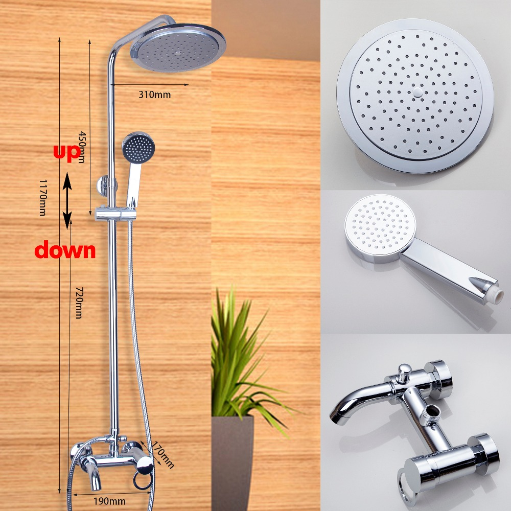 New Bathroom Shower Set Polished Chrome Wall Mounted Shower Faucet 8 Shower Head Water Saving Shower Set Mixer Tap bathroom faucet modern round 8 shower head set faucet shower set polished chrome dual handle wall mounted shower mixer tap