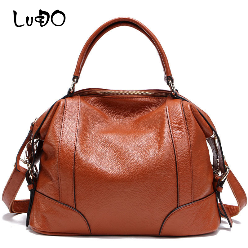 LUCDO 100% Genuine Leather Vintage Women Messenger Bags Female First Layer Of Cowhide Handbag Cow Leather Shoulder Bag For Lady стоимость