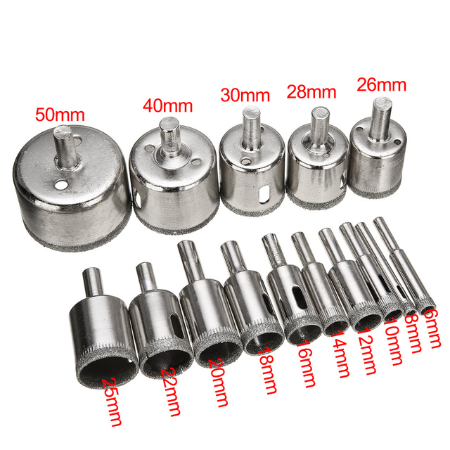 15pcs Diamond Coated Drill Bit Set Tile Marble Glass Ceramic Hole Saw Drilling Bits For Power Tools 6mm-50mm 2
