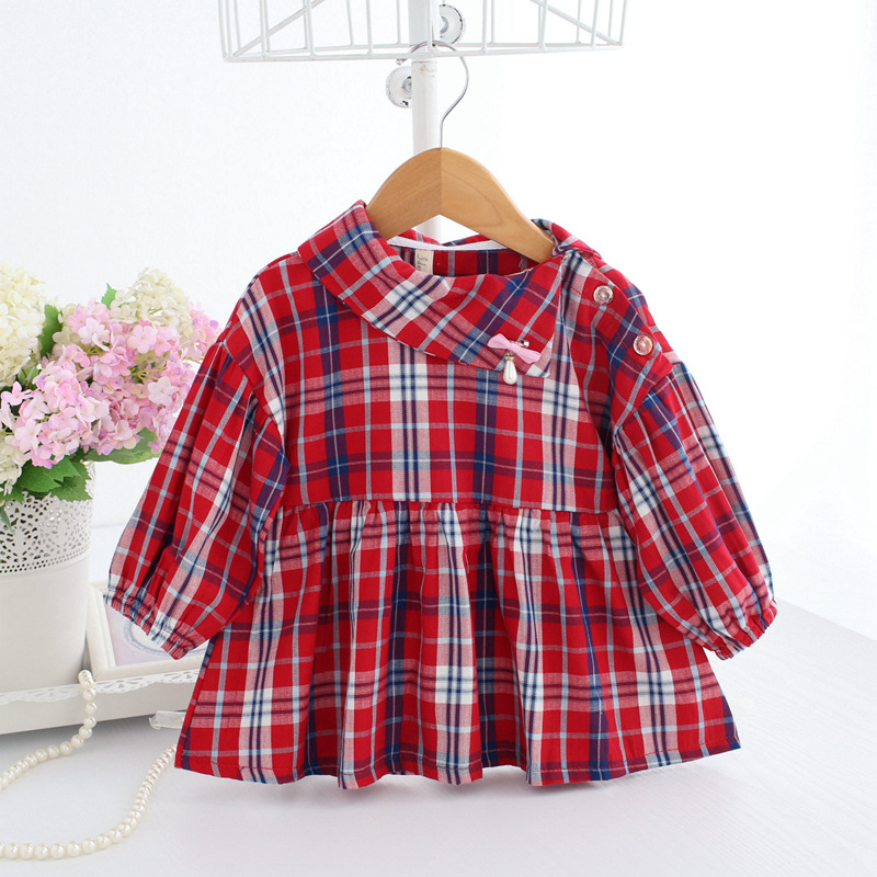 все цены на Baby Girl Dress Red Plaid Frocks Toddler Girl Buffalo Check Clothes Long Sleeve Christmas Dresses A014 New Year Baby Girl Outfit