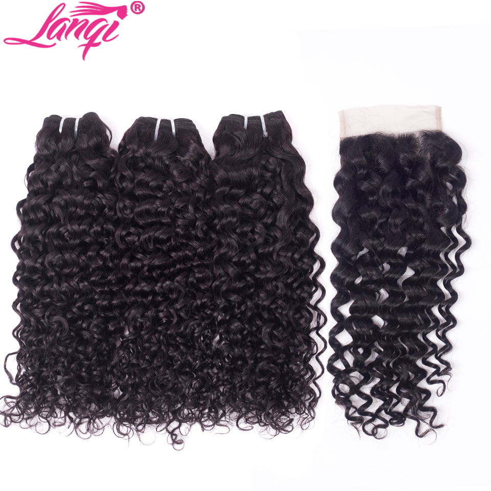 Water Wave Bundles With Closure Brazilian Hair Weave Bundles With Closure Non Remy Wet And Wavy Human Hair Bundles With Closure