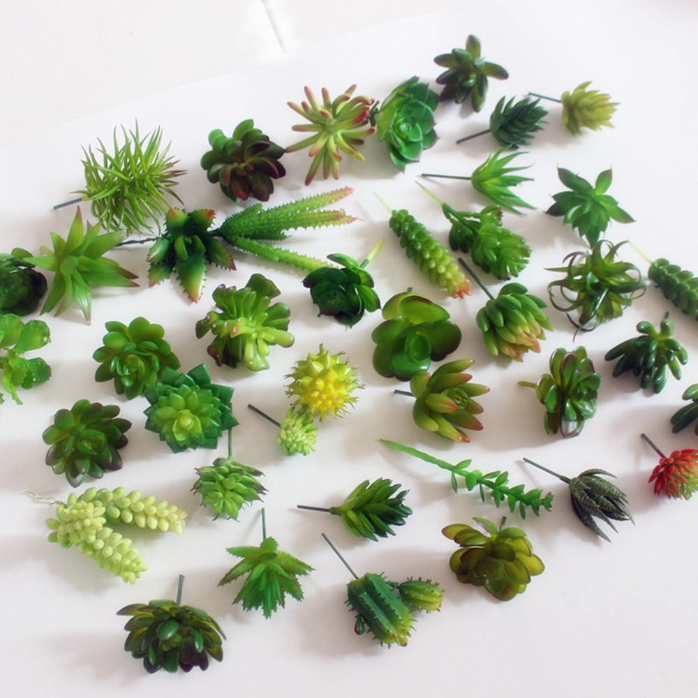 Mini succulent plants plastic artificial fall leaves for Donde venden cactus