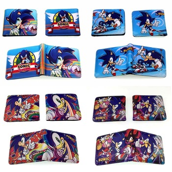 Cartoon Sonic The Hedgehog Wallet Credit Card Holder Quality Leather Purse Students Gift Kids Boy Girl Wallets with Coin Pocket - discount item  5% OFF Wallets & Holders