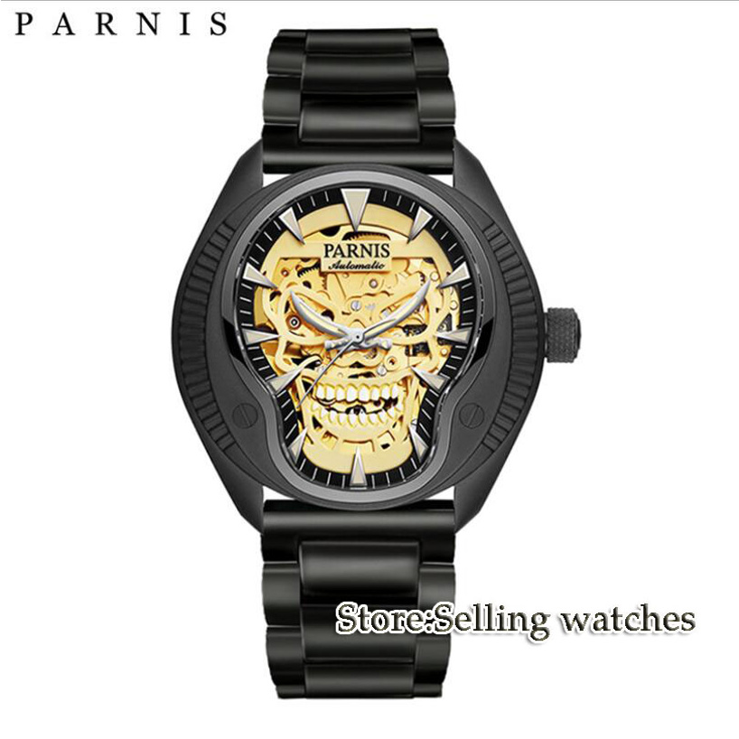 40mm Parnis skeleton dial Luminous marks STEEL strap 2018 top brand Luxury Sapphire glass Miyota automatic Movement mens watch 40mm parnis white dial vintage automatic movement mens watch p25
