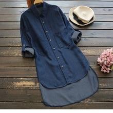 4XL 5XL Big Size Denim Shirt Women Irregular Hem Length Pockets Buttons Long Sleeve Women's Tops Autumn Stone Wash Jean Blouse stone wash denim jacket with pockets