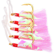 5pcs Sea Fishing Hook Offshore Angling Barbed With Tied Feather Anti Salt Water Corrosion Boat Rock Fishhooks Jigging Barb