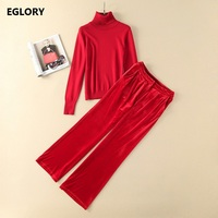 2018 Autumn Winter Clothing Set Women Turntleneck Knitted Sweaters+Full Length Red Velour Pants Suits Casual Set Tracksuits 2pc