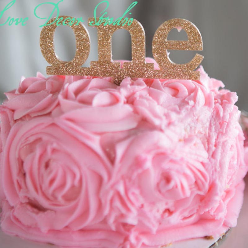 """4"""" Wide X 3.5"""" Tall One Cake Topper For First Birthday"""