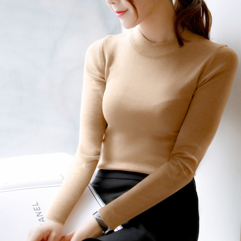 FEKEHA Autumn Winter Women Pullovers Sweater Knitted Elasticity Jumper Slim Half Turtleneck Warm Female White Black Sweaters