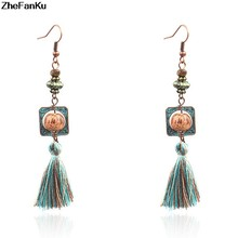 2018 Boho Vintage Long Earrings Ethnic Bohemian Green Tassel Earring For Women Wood Beads Ear Rings Party Charm Jewelry(China)