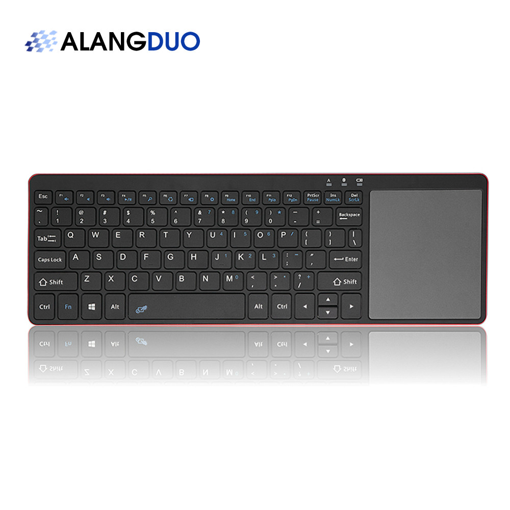 ALANGDUO Mini Bluetooth Wireless Keyboard with Touch Pad for Desktop Laptop Computer Tablet Home Office Video Gaming Game  alangduo simple pro usb wired keyboard for desktop laptop computer tablet home office video gaming game