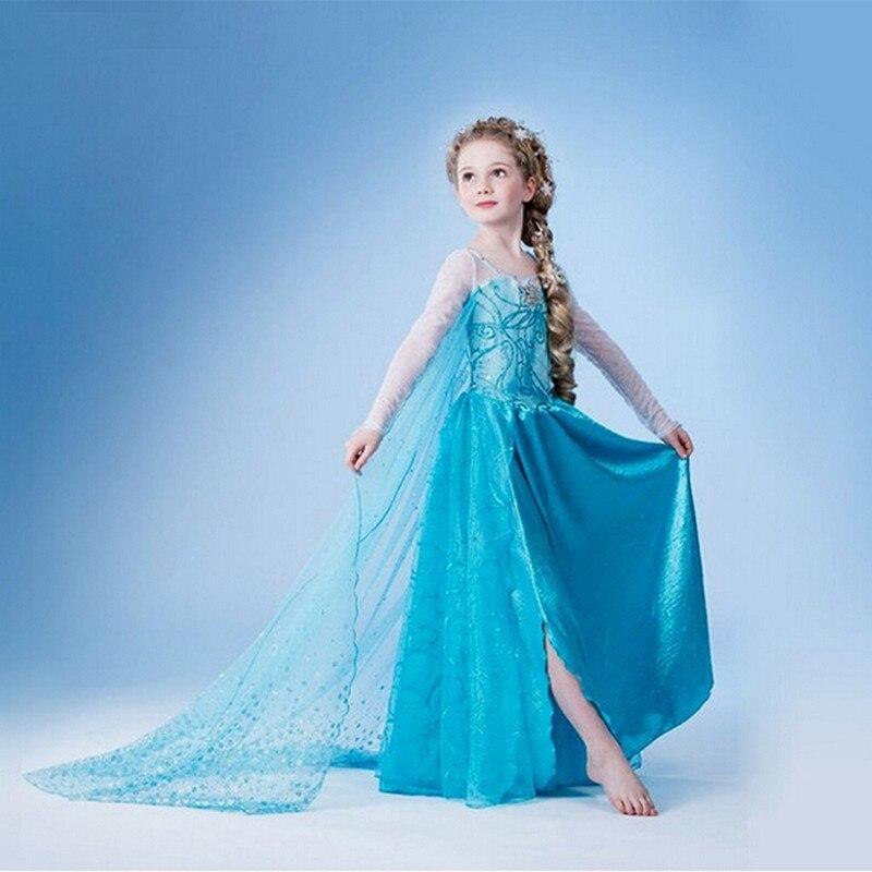 Elsa verão vestido de algodão azul Elsa partido dos desenhos animados vestido 2015 meninas Vestidos Infantis