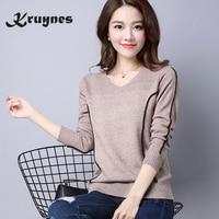 2017 High Quality Autumn Winter Brand Women S Sweater Female Stripe Jumper Knitted Cotton V Neck