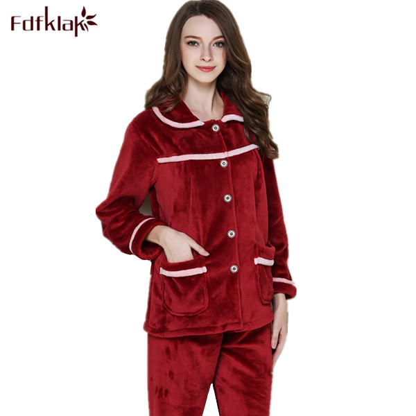 Fdfklak Winter Pyjamas Long Sleeve Flannel Tracksuit Family Set Pajamas Pajamas Women Pijamas Mujer Two Piece Set Sleepwear Q405