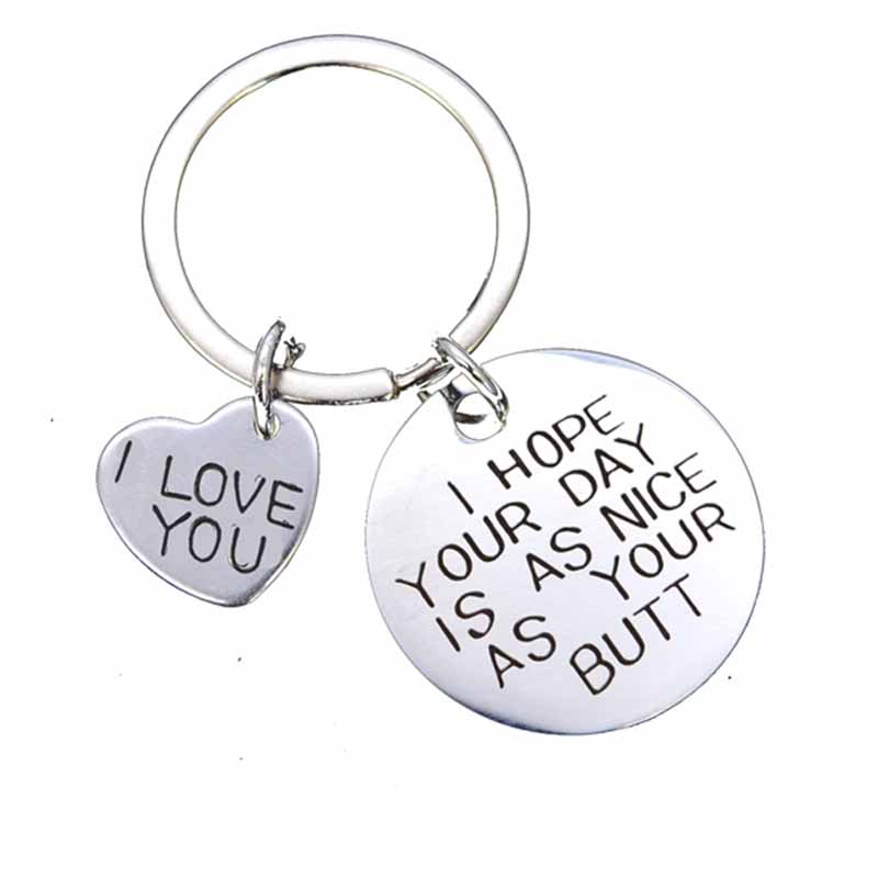 Fashion Stainless Steel Couple Jewelry Key Ring I Love You Woman Man Keychain For Husband Wife Boyfriend Valentine'S Day Gift
