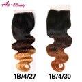Extensões de Cabelo Ombre Três Tom 1b/4/27 Fechamento Ombre peruano Virgem cabelo onda do corpo 1 peça livre parte halo de cabelo da senhora fechamento