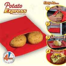 Красный моющийся картофельный мешок, инструмент для экспресс-выпечки картофеля, контейнер для 4 картофеля, микроволновка, легко готовящийся инструмент, кухонные аксессуары